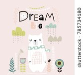 dream big lettering. cute... | Shutterstock .eps vector #785734180