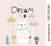 dream big lettering. cute... | Shutterstock .eps vector #785734180