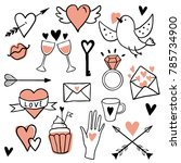 funny set of love stickers.... | Shutterstock .eps vector #785734900