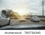 blurred row of car on evening