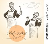 lady chef. cooking. vintage... | Shutterstock .eps vector #785742670