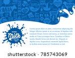 vector milk illustration with... | Shutterstock .eps vector #785743069