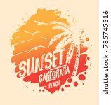sunset. surf. california t... | Shutterstock .eps vector #785745316
