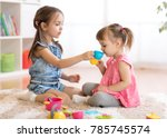 little happy children  cute... | Shutterstock . vector #785745574