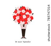man with a big bouquet of roses ... | Shutterstock .eps vector #785747314