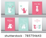 set of valentine's day card ... | Shutterstock .eps vector #785754643