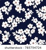 floral pattern on navy...   Shutterstock .eps vector #785754724