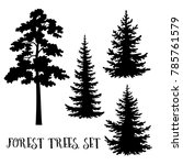 fir and pine trees set  black... | Shutterstock .eps vector #785761579