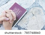 woman ready to read the holy... | Shutterstock . vector #785768860