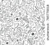 paleo food  seamless pattern.... | Shutterstock .eps vector #785770018