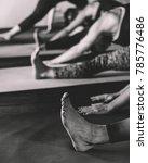 sweating people practicing yoga ... | Shutterstock . vector #785776486