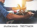 semi truck driver job.... | Shutterstock . vector #785776654