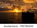bright yellow sunset on mallory ... | Shutterstock . vector #785780344
