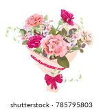 heart with bouquet of pink  red ... | Shutterstock .eps vector #785795803