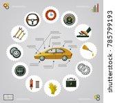 vector flat car service... | Shutterstock .eps vector #785799193