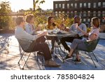 five young friends socialising... | Shutterstock . vector #785804824