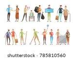 volunteering people flat... | Shutterstock . vector #785810560