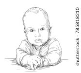 sketch of baby portrait with... | Shutterstock .eps vector #785818210