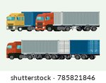 trucks container delivery... | Shutterstock .eps vector #785821846