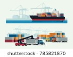 cargo logistics truck and... | Shutterstock .eps vector #785821870