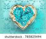 jeweled heart of white gold ... | Shutterstock . vector #785825494