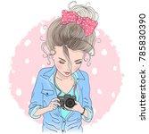 hand drawn beautiful cute girl... | Shutterstock .eps vector #785830390
