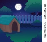 cartoon night landscape with... | Shutterstock .eps vector #785835910