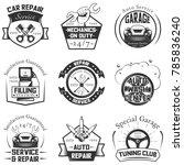 set of vintage car service...   Shutterstock . vector #785836240