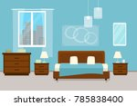 bedroom with furniture and... | Shutterstock .eps vector #785838400