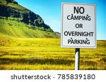 sign   no camping or overnight... | Shutterstock . vector #785839180