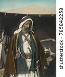 Small photo of Auda Abu Tayeh, Bedouin chief of Howeitat tribe, fought in the WW1 Arab Revolt. T.E. Lawrence described him as the greatest fighting man in northern Arabia. He was portrayed by Anthony Quinn in the 19