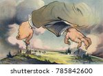 Small photo of HANDS ACROSS THE LAND, political cartoon about the relationship between Politics and Banks. Puck Magazine, Aug. 20, 1913. It asks a question, Which is worse, financial control of politics, or politica