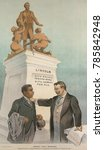 Small photo of JUSTICE VERSUS PREJUDICE, cartoon in PUCK Magazine, Jan. 28, 1903. President Theodore Roosevelt, standing with an African American man and references to the 15th Amendment and Abraham Lincoln. On Oct.
