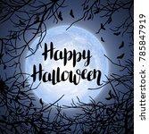 halloween background with moon... | Shutterstock .eps vector #785847919