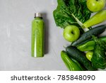 green vegetables and smoothies... | Shutterstock . vector #785848090