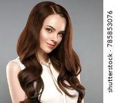 beautiful shine hair woman with ... | Shutterstock . vector #785853076