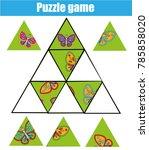 puzzle kids activity. matching... | Shutterstock . vector #785858020