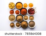 indian colourful basic spices... | Shutterstock . vector #785864308