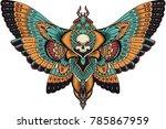patterned butterfly . ornate... | Shutterstock .eps vector #785867959