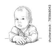 sketch of baby portrait with... | Shutterstock .eps vector #785868043