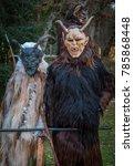 krampus or devil mask  carved...   Shutterstock . vector #785868448