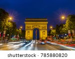 arc de triomphe in paris at... | Shutterstock . vector #785880820