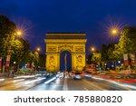 arc de triomphe in paris at... | Shutterstock . vector #785880820