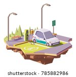 vector low poly electric car... | Shutterstock .eps vector #785882986