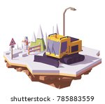 Vector Low Poly Snowcat Or Sno...