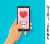 sending love message to lover... | Shutterstock .eps vector #785883604