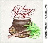 happy pongal greeting card to... | Shutterstock .eps vector #785888398