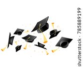 flying academic mortarboard  ... | Shutterstock .eps vector #785889199