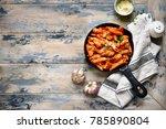 whole grain pasta with chicken... | Shutterstock . vector #785890804