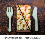 sweet pizza and edible cutlery... | Shutterstock . vector #785893330